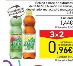 Oferta de Bebida a base de extractos de té NESTEA limón sin azúcar, desteinado, maracuyá o manzana por 1,44€