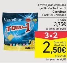 Oferta de Lavavajillas cápsulas gel limón Todo en 1  Carrefour por 3,75€