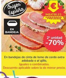 Oferta de En bandejas de cinta de lomo de cerdo extra adobada o al ajillo por