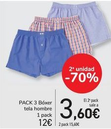Oferta de Pack 3 bóxer tela hombre  por 12€