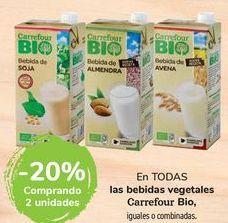 Oferta de En TODAS las bebidas vegetales Carrefour Bio por