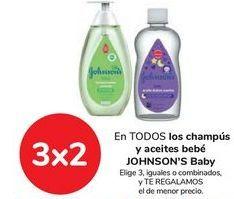 Oferta de En TODOS los champús y aceites bebé JOHNSON'S bABY, Elige 3, iguales o combinados, y TE REGALAMOS el de menor precio por