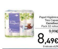 Oferta de Papel Higiénico Tres Capas Carrefour por 8,49€