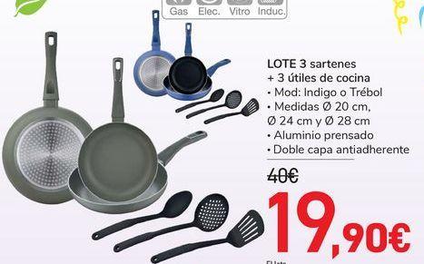 Oferta de Lote 3 sartenes + 3 utiles de cocina por 19,9€