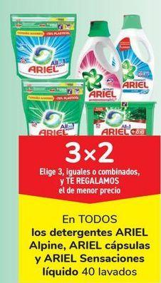 Oferta de En TODOS los detergentes ARIEL, Alpine, Ariel cápsulas y ARIEL Sensaciones líquido, Elige 3, iguales o combinados, y TE REGALAMOS el de menor precio por