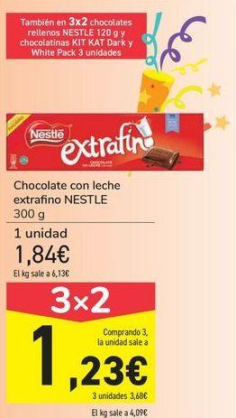 Oferta de Chocolate con leche extrafino NESTLÉ por 1,84€