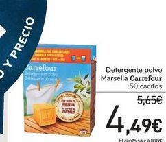 Oferta de Detergente polvo Marsella Carrefour por 4,49€