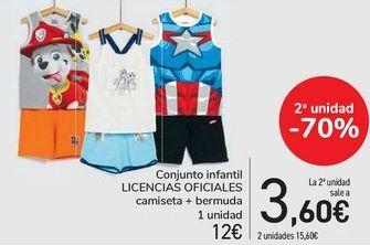 Oferta de Conjunto infantil LICENCIAS OFICIALES Camiseta + bermudas  por 12,45€