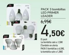 Oferta de Pack 3 bombillas LED PRIMER LEADER  por 4,5€