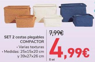Oferta de SET 2 Cestas plegables COMPACTOR  por 4,99€