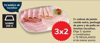 Oferta de En sobres de jamón cocido extra, pechuga de pavo y de pollo en lonchas Carrefour por