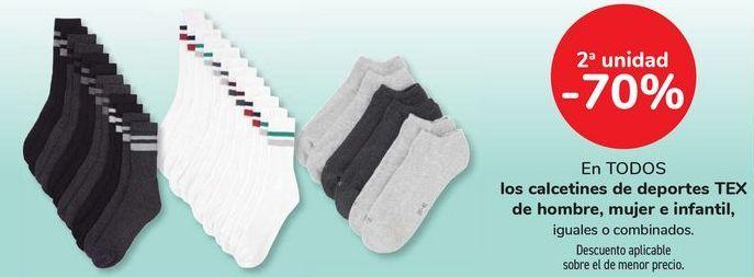 Oferta de En TODOS los calcetines de deportes TEX de hombre, mujer e infantil, iguales o combinados por