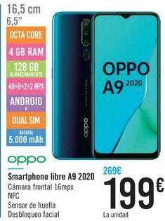 Oferta de Smartphone libre A9 2020 oppo  por 199€