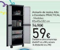 Oferta de Armario de resina Alto o Escobero PRACTICAL  por 59€