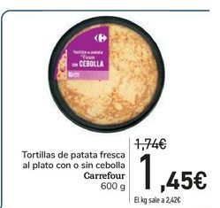 Oferta de Tortillas de patata fresca al plato con o sin cebolla Carrefour por 1,45€