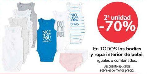 Oferta de En TODOS los bodies y ropa interior de bebé, iguales o combinados  por