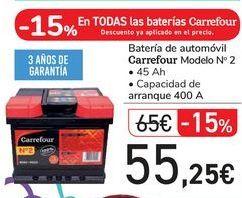 Oferta de Batería de automóvil Carrefour Modelo nº 2 por 55,25€