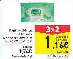 Oferta de Papel higiénico Húmedo Aloe Vera Carrefour por 1,74€