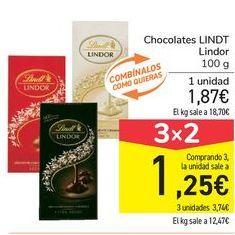 Oferta de Chocolates LINDT Lindor por 1,87€