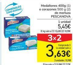 Oferta de Medallones o corazones de merluza PESCANOVA por 5,45€