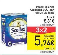 Oferta de Papel higiénico Acolchado SCOTTEX  por 8,61€