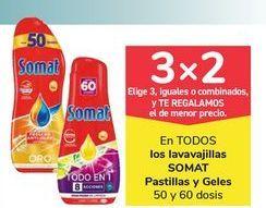 Oferta de En TODOS los lavavajillas SOMAT Pastillas y geles, Elige 3, iguales o combinados, y TE REGALAMOS el de menor precio por