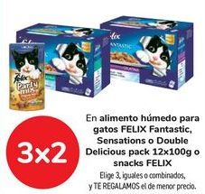 Oferta de En alimento húmedo para gatos FELIX Fantastic, Sensations o Double Delicious o Snack FELIX, Elige 3, iguales o combinados, y TE REGALAMOS el de menor precio por