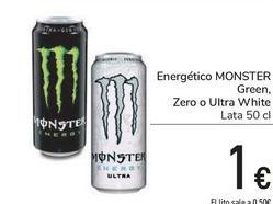 Oferta de Energético MONSTER Green, Zero o Ultra White por 1€