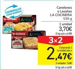 Oferta de Canelones o Lasañas LA COCINERA por 3,7€