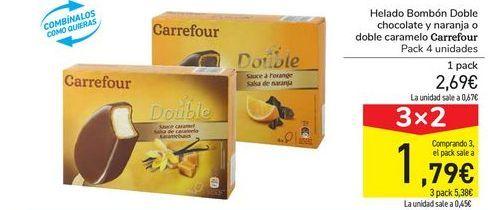 Oferta de Helado Bombón Doble chocolate y naranja o doble caramelo Carrefour por 2,69€