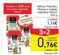 Oferta de Helices, Pajaritas, Plumas o Tulipán vegetales GALLO por 1,14€