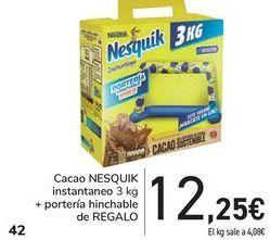 Oferta de Cacao NESQUIK instantáneo + portería hinchable de REGALO por 12,25€