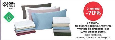 Oferta de En TODAS las sábanas bajeras, encimeras y funas de almohada lisa 100% algodón percal, iguales o combinadas  por