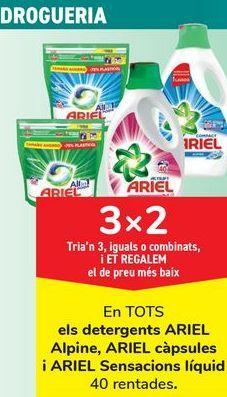 Oferta de En TODOS los detergentes ARIUEL, Alpine, Ariel cápsulas y ARIEL Sensaciones líquido, Elige 3, iguales o combinados, y TE REGALAMOS el de menor precio por