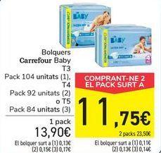 Oferta de Pañales carrefour baby por 13,9€