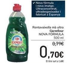 Oferta de Lavavajillas mano ultra Carrefour NUEVA FORMULA por 0,7€