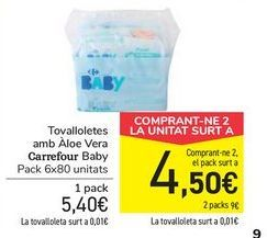 Oferta de Toallitas con Aloe Vera Carrefour Baby por 5,4€
