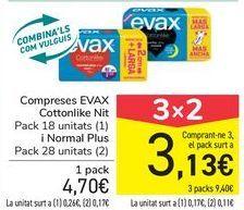 Oferta de Compresas EVAX Cottonlike Noche y Normal Plus  por 4,7€
