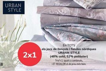 Oferta de En TODOS los juegos de sábanas y fundas nórdicas URBAN STYLE, Elige 2, iguales o combinados, y TE REGALAMOS la de menor precio por