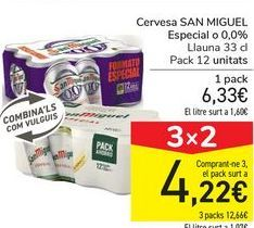 Oferta de Cerveza SAN MIGUEL Especial o 0,0% por 6,33€