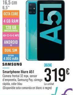 Oferta de Smartphone licre A51 SAMSUNG  por 319€