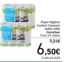 Oferta de Papel higiénico Confort Compact Doble rollo Carrefour por 6,5€
