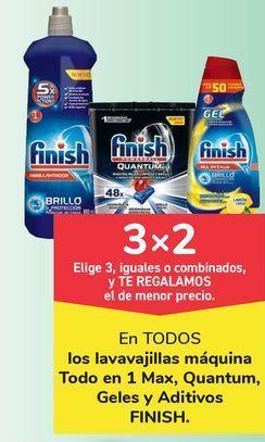 Oferta de En TODOS los lavavajillas máquina Todo en 1 Max, Quantum, Geles y Aditivos FINISH, Elige 3, iguales o combinados, y TE REGALAMOS el de menor precio por