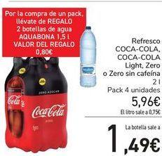Oferta de Refresco COCA-COLA, COCA-COLA Light, Zero o Zero sin cafeína por 5,96€