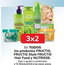 Oferta de En TODOS los productos FRUCTIS, FRUCTIS Style FRUCTIS Hair Food y Nutrisse, Elige 3, iguales o combinados, y TE REGALAMOS el de menor precio por