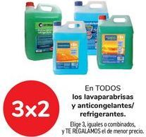 Oferta de En TODOS los lavaparabrisas y anticongelantes/refrigerantes, Elige 3, iguales o combinados, y TE REGALAMOS el de menor precio por