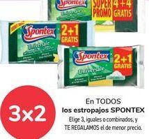 Oferta de En TODOS los estropajos SPONTEX, Elige 3, iguales o combinados, y TE REGALAMOS el de menor precio por
