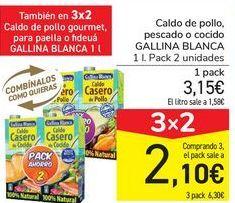 Oferta de Caldo de pollo pescado o cocido GALLINA BLANCA por 3,15€