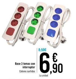 Oferta de Base 3 tomas con interruptor  por 6,9€