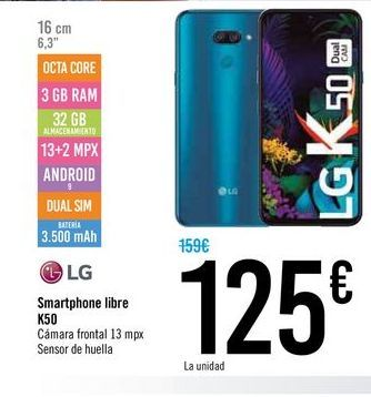 Oferta de Smartphones libre K50 LG  por 125€